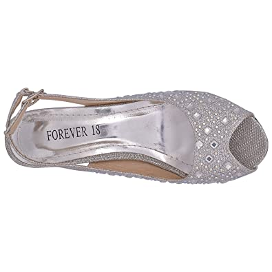 8d6ce175927 Forever-18 Fashionable Silver Women s Dutch Heel Sandals 6 UK (0837-B54  SILVER