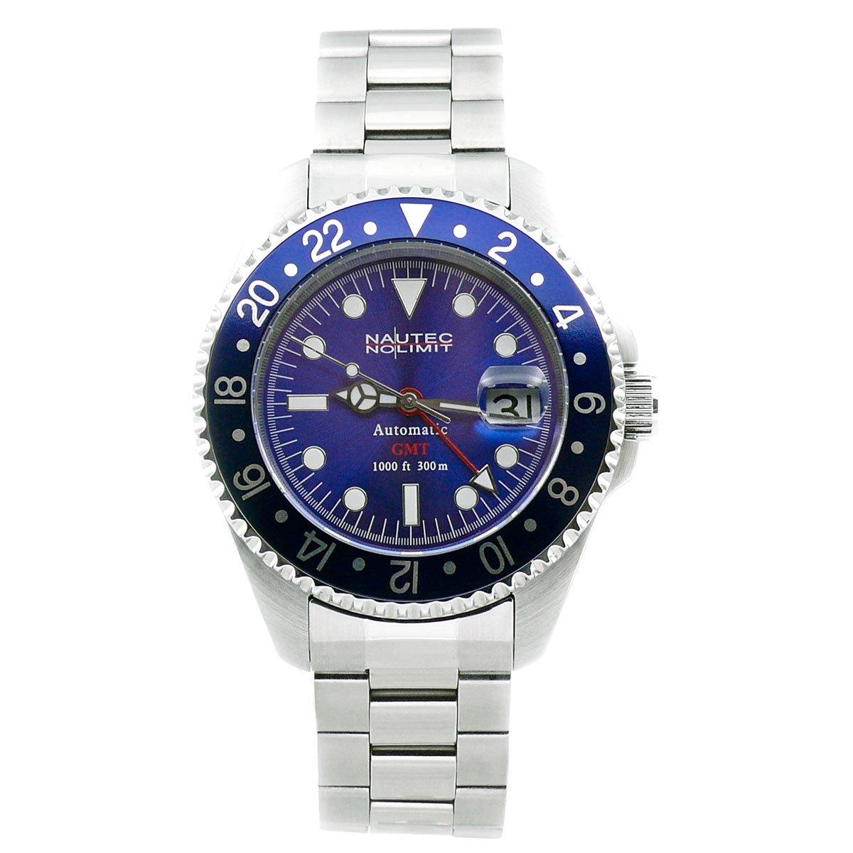 Nautec No Limit Deep Sea - Reloj analógico de caballero automático con correa de acero inoxidable plateada - sumergible a 200 metros