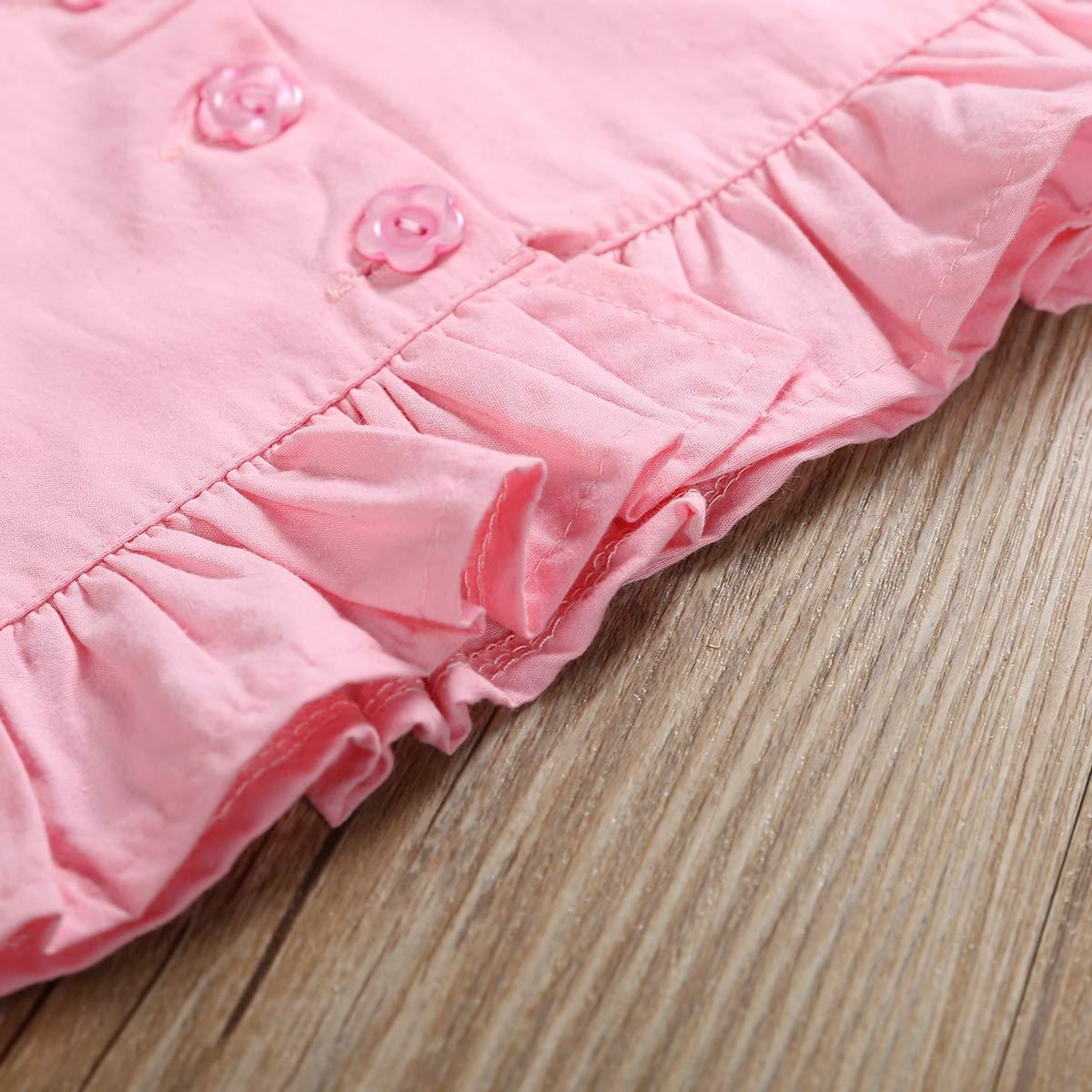 2PCS Infant Toddler Baby Girls Summer Set Ruffle Halter Vest Top Floral Bow Shorts 3 Botton Shirts Bamboo Pants Clothes
