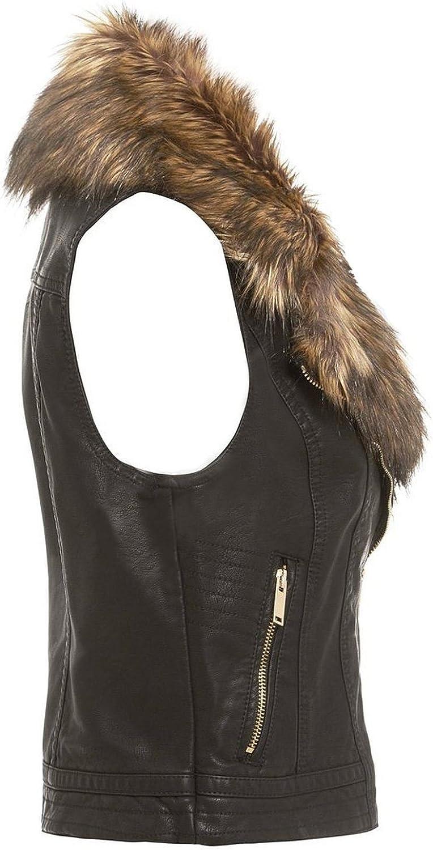 NEW Womens LADIES FAUX FUR LEATHER BIKER JACKET Crop Ladies Coat Size 8-16 URBAN