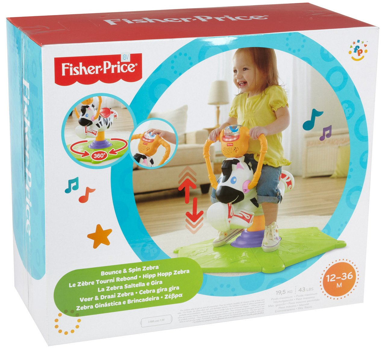 Fisher-Price Go Baby Go! Bounce & Spin Zebra(Discontinued by manufacturer)
