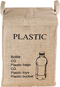 Dometopia Recycle Bag Separate Jute Weave Square Recycle Bin Decorative Waste Baskets (15.3 X 10.6 inch) (Plastic)