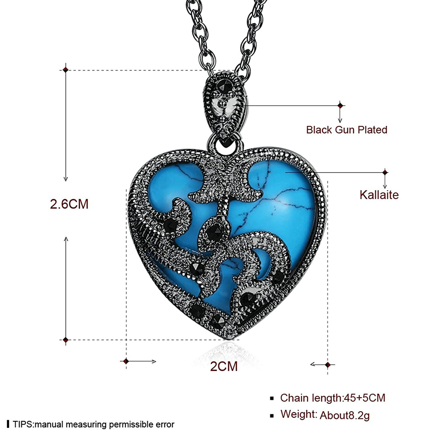 45+5CM KnSam Necklace for Women Heart Hollow Turquoise Chain Length