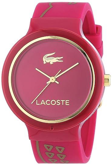 Lacoste GOA - Reloj de cuarzo para mujer, correa de silicona color morado: Amazon.es: Relojes