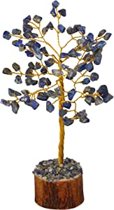 PYOR Lapis Lazuli Chakra Tree Reiki Healing Gemstone Feng Shui Bonsai Trees Good Luck Statue Home Decor Emf Protection Aura Cleansing Energy Stones Prosperity Beads Golden Wire 7-8 Inch