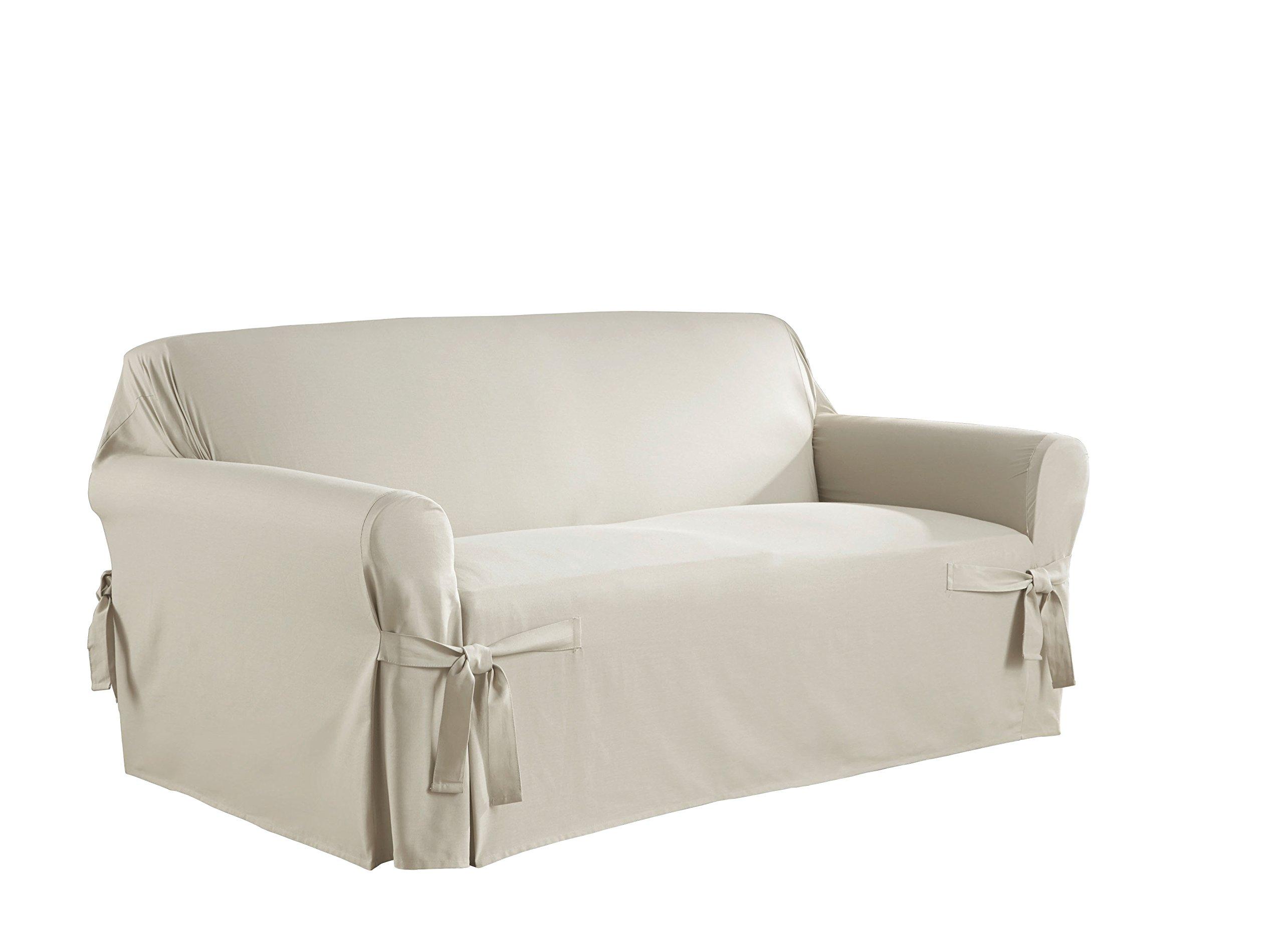 Serta 863045 Relaxed Fit Duck Slipcover Box Loveseat, White by Serta