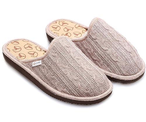 ESTRO Zapatillas De Casa Mujer Invierno Lana De Camello Pantuflas Casa Mujer Cute (36,