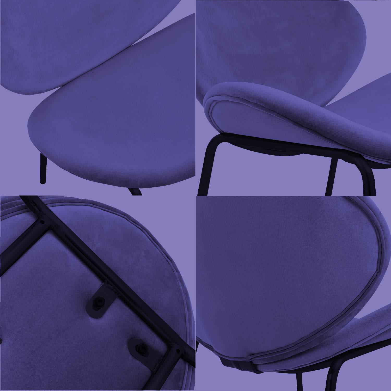 Azzurro Nicemoods Sedie da Pranzo Set di 2,Sedie in Velluto con Poltroncine con Gambe in Metallo,Sedie Imbottite da Salotto Colore per Rosa,Blu