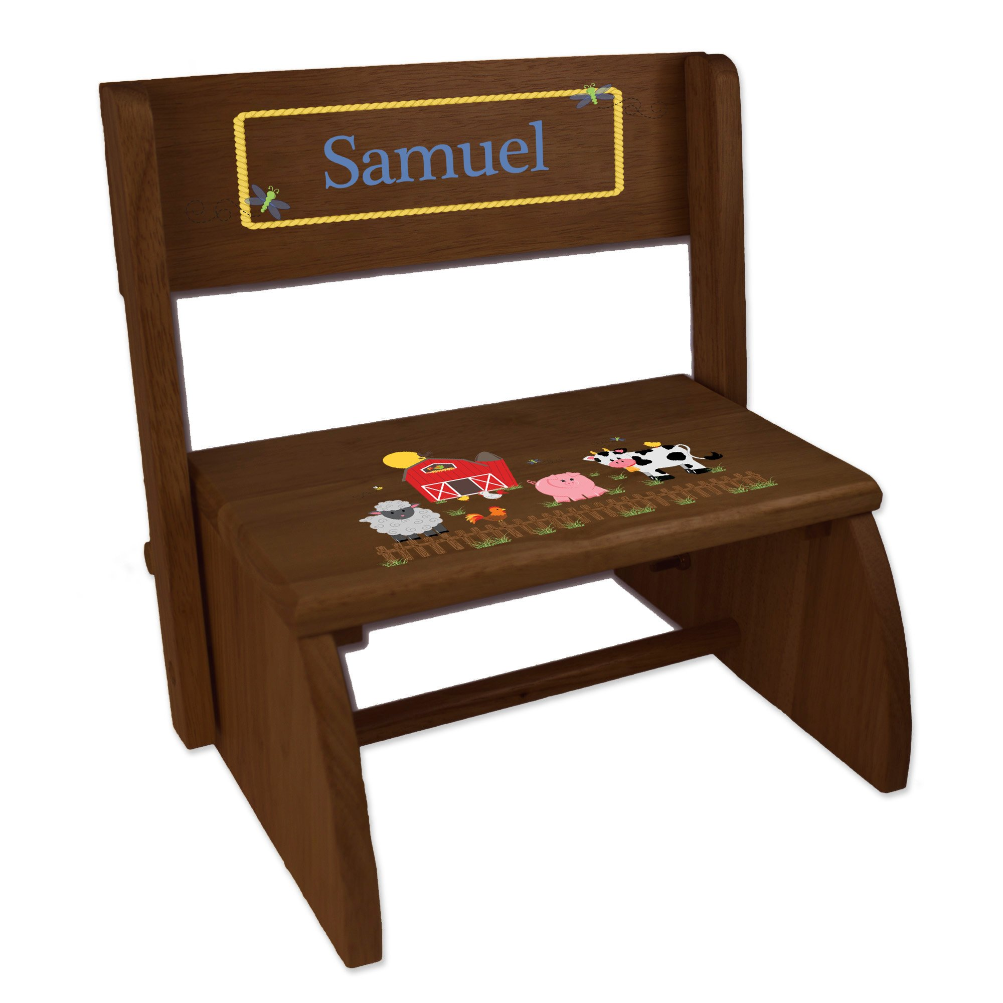 Personalized Barnyard Friends Pastel Childrens and Toddlers Espresso Folding Stool