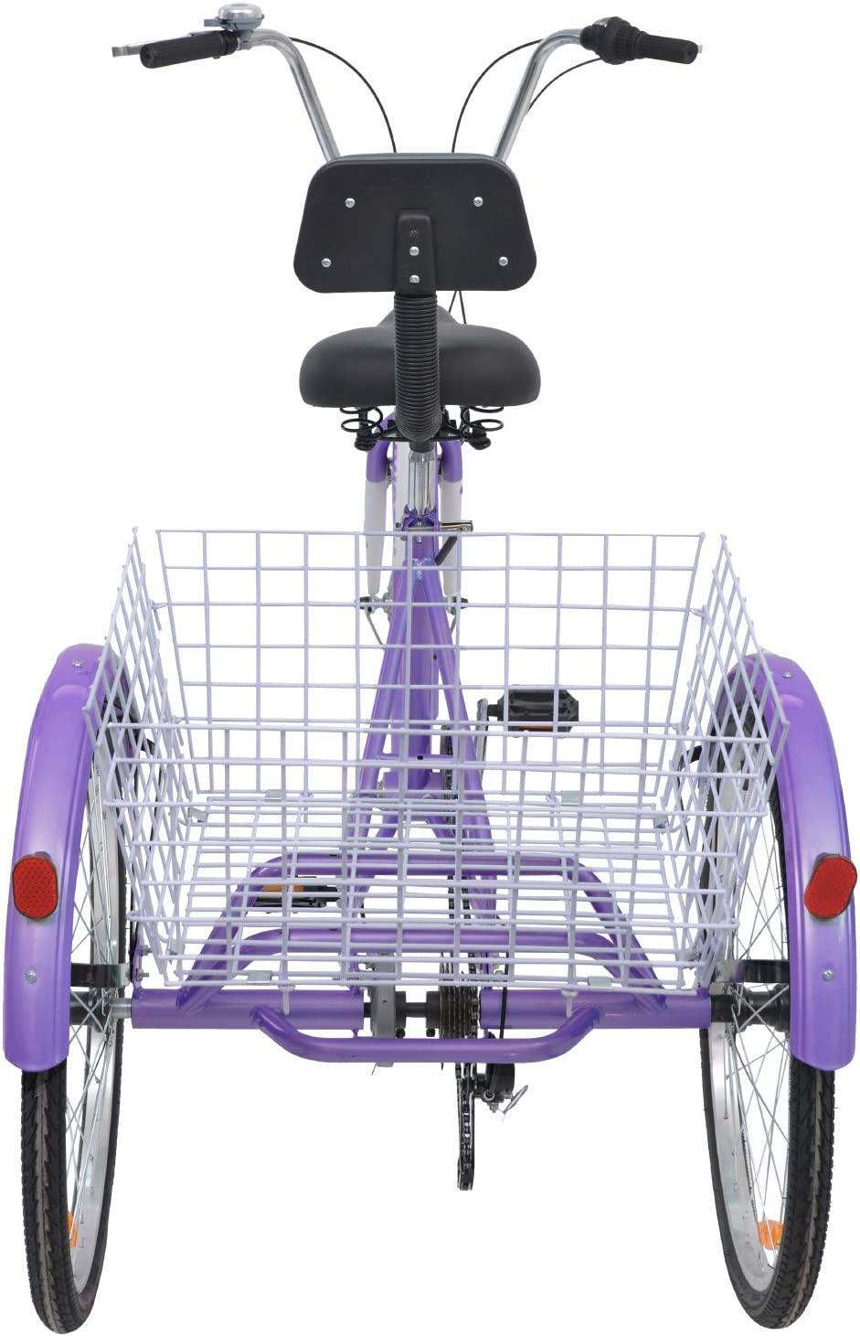 H/&ZT Tricycle 1-Speed Trike Cruiser Bike 3 Wheeled Bicycle w//Large Basket and Maintenance Tools Childrens Teenagers Mens Womens Cruiser Bicycles