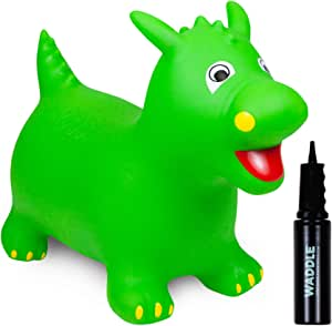 WADDLE Bouncy Hopper Large Inflatable Hopping Animal, Indoors and Outdoors Toy for Toddlers and Kids, Pump Included, Boys and Girls Ages 3 Years and Up (Green Dragon)