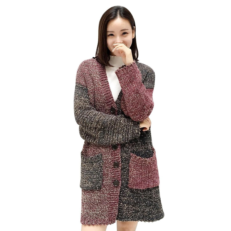 WEN TING Women's Open Front Multicolor Pocket Long Cardigan Knitwear Sweater Coat