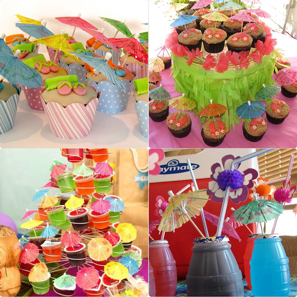 FEPITO 184 PCS Tropical Hawaiian Party Decorations Includes Tropical Palm Leaves, Hibiscus Flowers, Drink Umbrella Picks, Colorful Fruit Straws and Cupcake Toppers for Luau Party Decorations Supplies by FEPITO (Image #5)