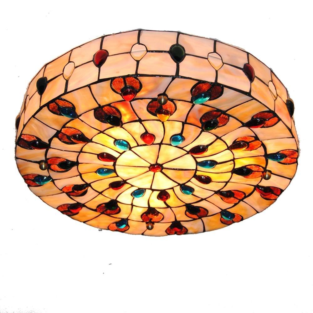 Tiffany Stil Deckenleuchte Modern Elegant Runde Bunten Shell Design Lampenschirm Deckenlampe für Wohnzimmer Schlafzimmer Esszimmer Studieren Balkon Villen Loft Korridor Flur Deckenleuchten Beleuchtung