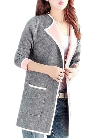 d4e4eeea867 Women Longline Colorblock Sweater Cardigan Plus-Size Coat with Pockets Grey  S
