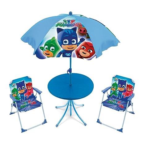 ARDITEX pyjamasques Conjunto de jardín/Mesa Redonda/sombrilla y 2 sillas, Tela, Azul, 72,5 x 10,5 x 50 cm