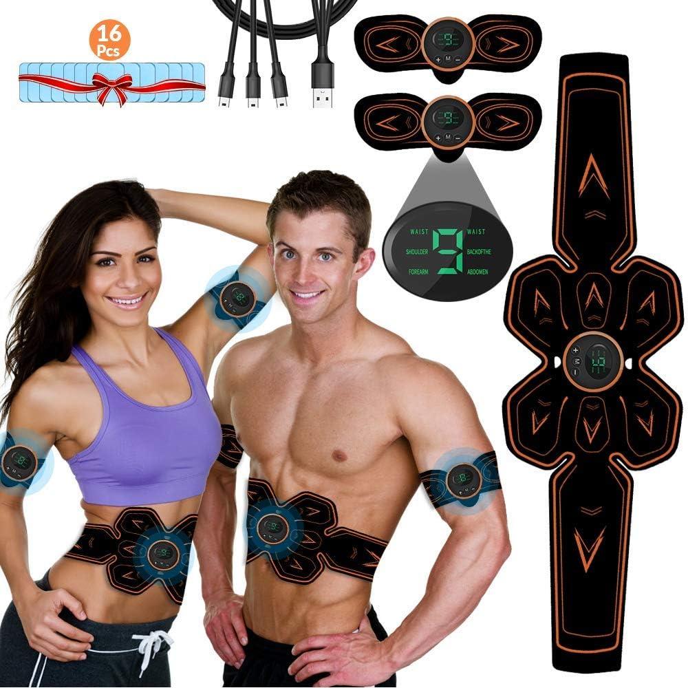 iThrough Electroestimulador Muscular Abdominales, EMS Estimulador Muscular Abdominales Cinturón, ABS Estimulador Muscular USB Recargable para