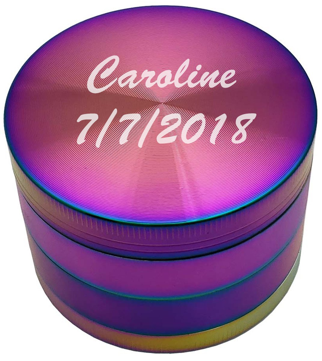 Gifts Infinity Personalized Herb, Spice or Tobacco Durable 62mm 2.5 Inches Grinder free engraving (Rainbow) by GIFTS INFINITY (Image #2)