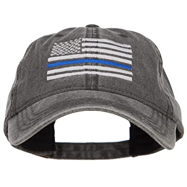 b26270c75c4 E4hats Thin Blue Line Silver USA Flag Embroidered Washed Cap - Black OSFM