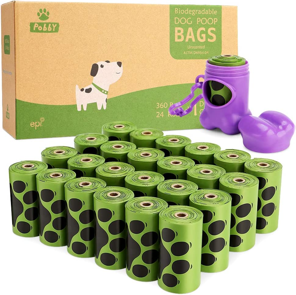 PobbY Dog Poop Bags Biodegradable Unscented, Extra Thick Strong 100% Leak Proof (24 Rolls / 360 Count) Includes Dispenser