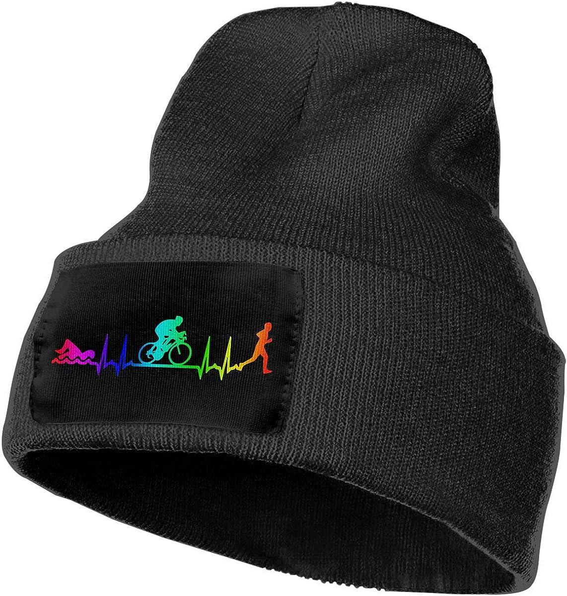 Men /& Women Triathlon Heartbeat Outdoor Fashion Knit Beanies Hat Soft Winter Skull Caps