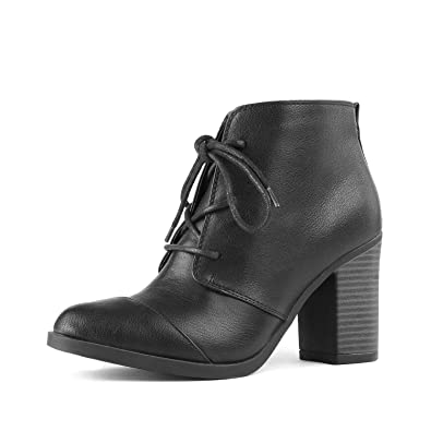 eb90d0c30 TOETOS Women's Chicago-05 Black Pu Leather Chunky Heel Ankle Boots Size 5  ...