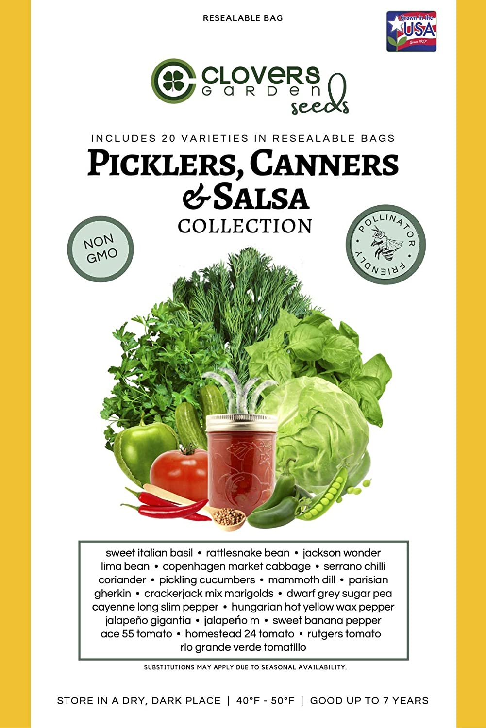 Clovers Garden Picklers, Canners & Salsa Seed Kit – 20 Varieties, 100% Non GMO Open Pollinated Heirloom Vegetable, Herb Seed Vault for Planting – USA Grown Hand Packed for Home or Survival Garden