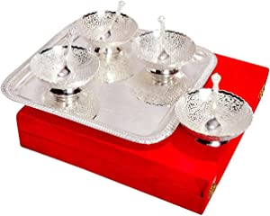 Silver Plated Brass Bowl Set with Tray - Pack of 9