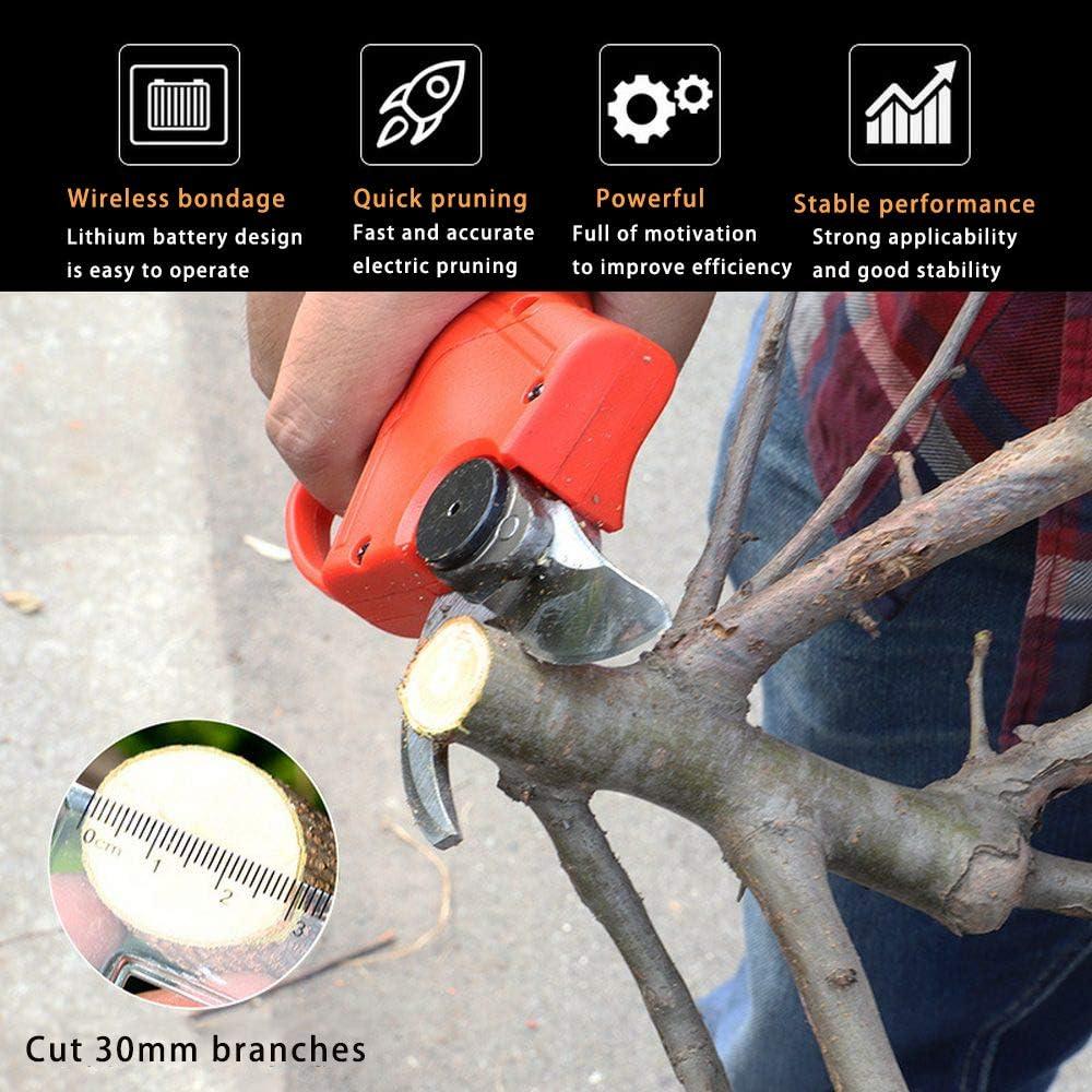 21V wiederaufladbar Professionelle elektrische Astscheren schnurlos Astschere f/ür scharfes Schneidwerkzeug f/ür Obstgarten 600W Schnittbereich: 10-30mm Elektrische Gartenschere