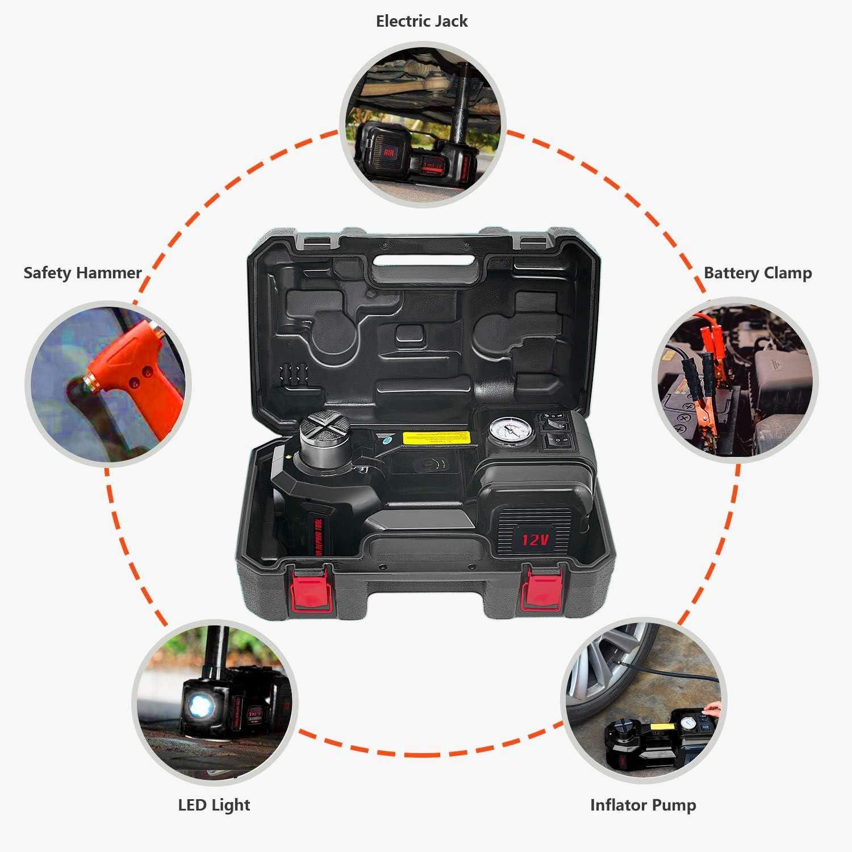 E-HEELP Electric Car Jack 5 Ton Hydraulic Car Jack Lift for SUV MPV Sedan Truck Change Tires Garage Tool Kit Repair Set