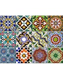 Tile Stickers 24 PC Set (2 X 12PC) Authentic Traditional Talavera Tiles Stickers Bathroom & Kitchen Tile Decals Easy to Apply Just Peel & Stick Home Decor 6x6 Inch (bathroom Tile Stickers AB2)