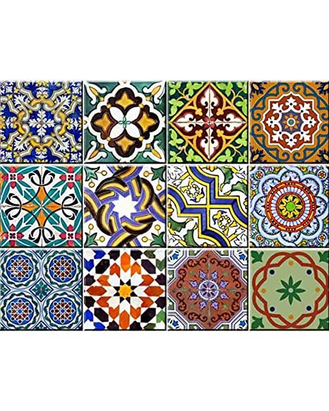 Backsplash Tile Stickers 24 PC Set Authentic Traditional Talavera Tiles  Stickers Bathroom U0026 Kitchen Tile Decals