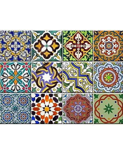 backsplash tile stickers 24 pc set authentic traditional talavera tiles stickers bathroom  u0026 kitchen tile decals amazon com  backsplash tile stickers 24 pc set authentic      rh   amazon com
