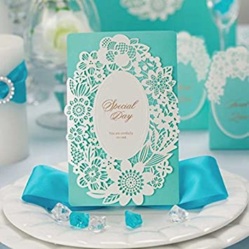 SogYupk 20 Count Sets Laser Cut Tiffany Blue Wedding Invitations