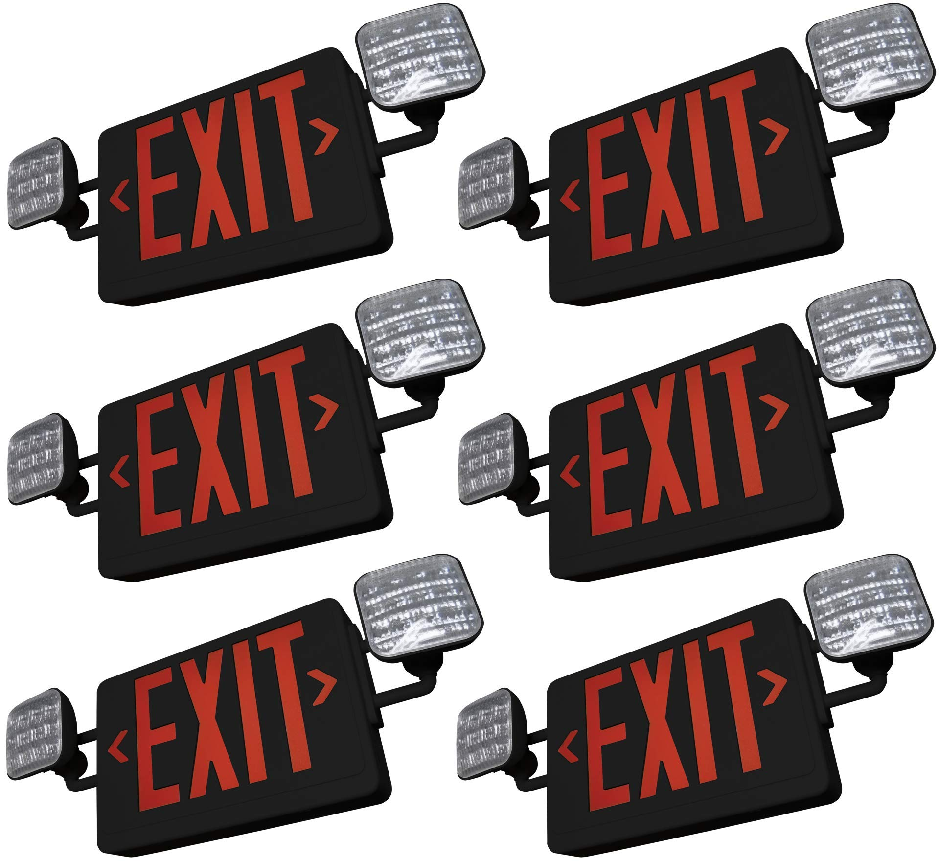 SupremeLED All LED Exit Sign & Emergency Light Combo with Battery Backup (Red Black 6 Pack)