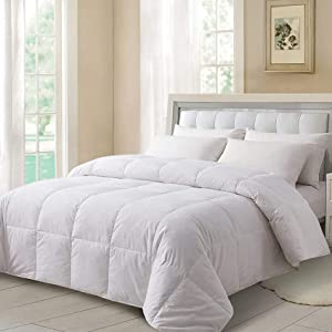 ELNIDO QUEEN Lightweight Down Comforter with 100% Cotton Cover, Thin Feather Duvet Insert / Stand Alone Bed Down Blanket for Summer - Twin/Twin XL Size (64×88 Inch)