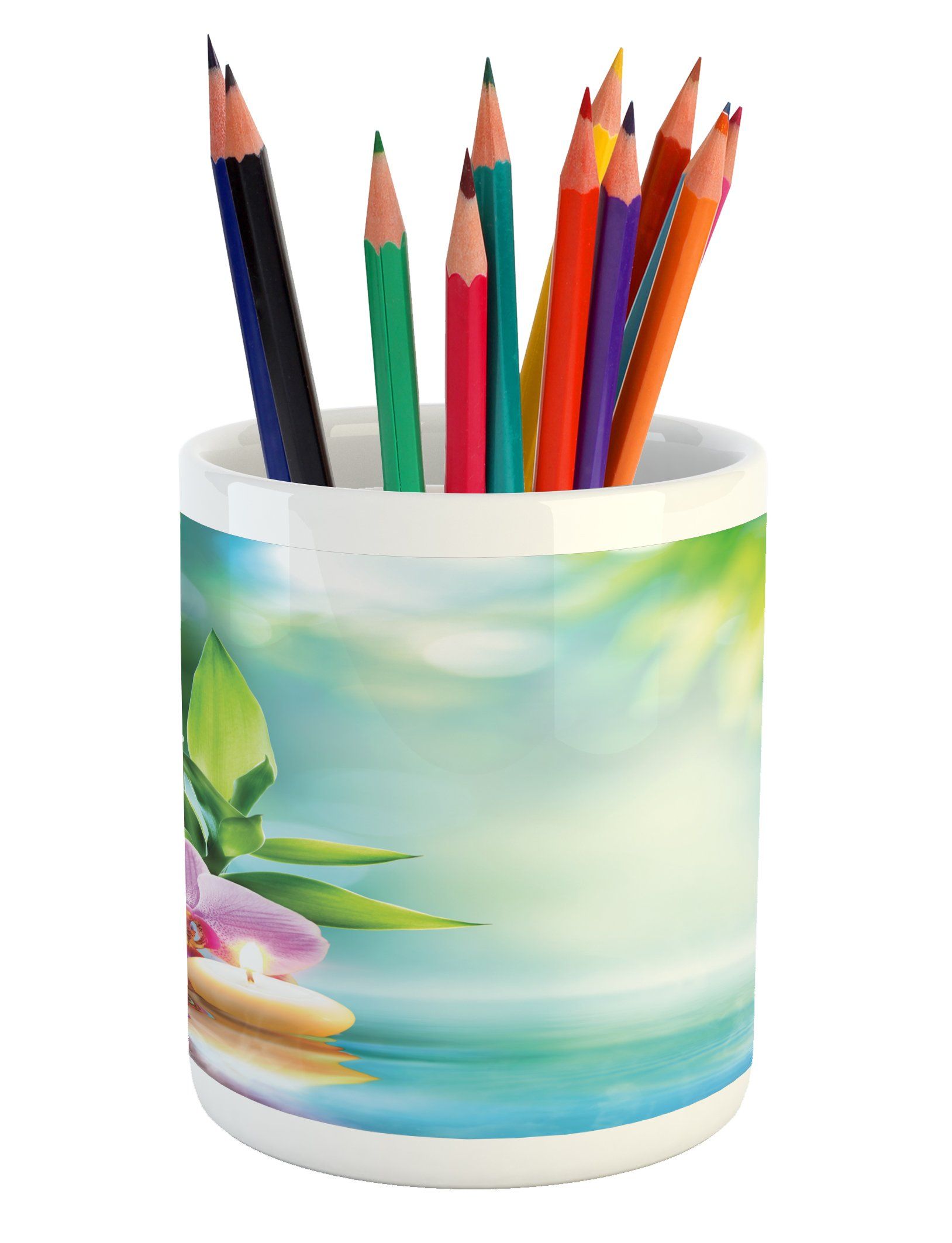 Ambesonne Spa Pencil Pen Holder, Symbolic Spa Features with Candle and Bamboos Tranquil and Thoughtful Life Nature Print, Printed Ceramic Pencil Pen Holder for Desk Office Accessory, Multicolor