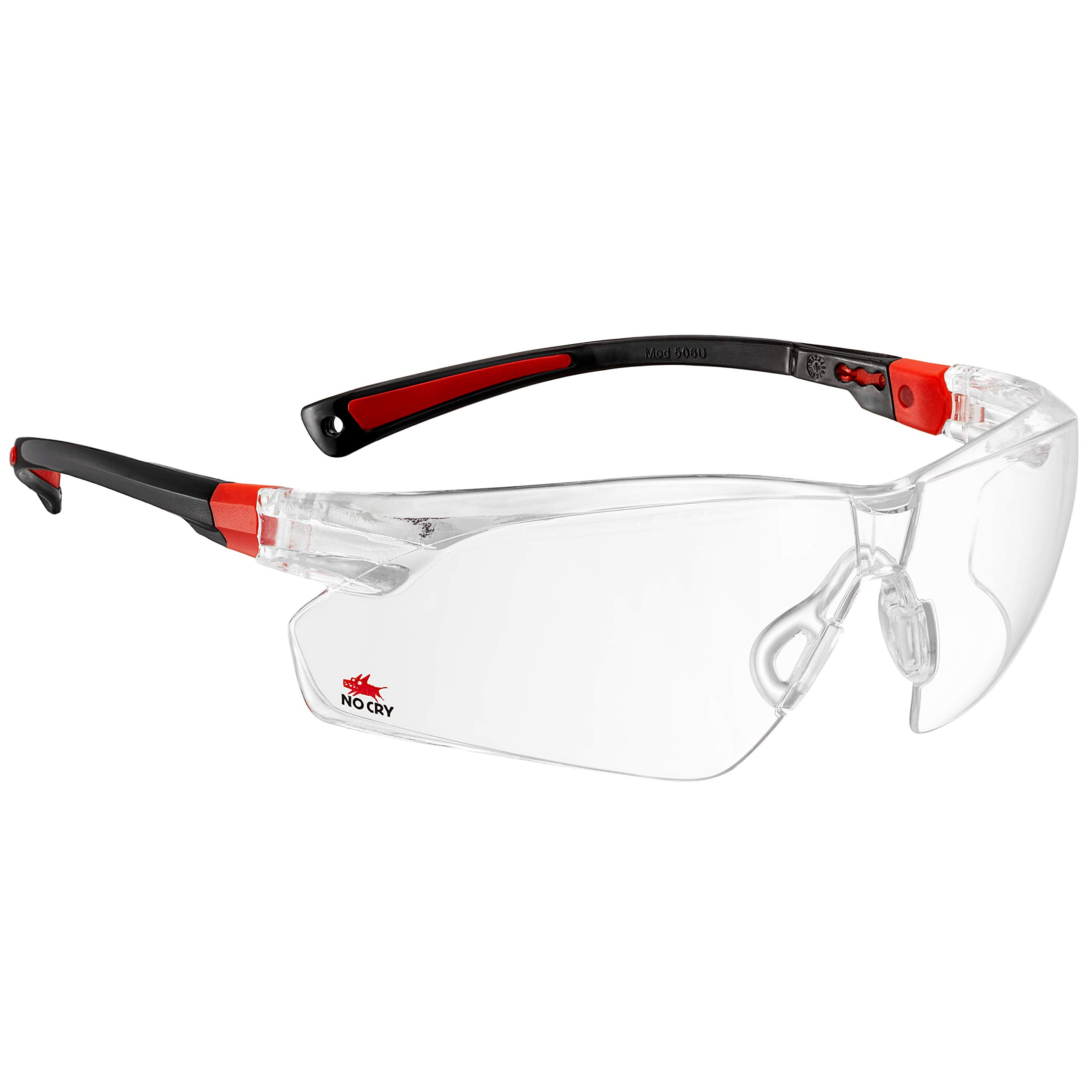 NoCry Safety Glasses with Clear Anti Fog Scratch Resistant Wrap-Around Lenses and Non-Slip Grips, UV Protection. Adjustable, Black & Red Frames by NoCry