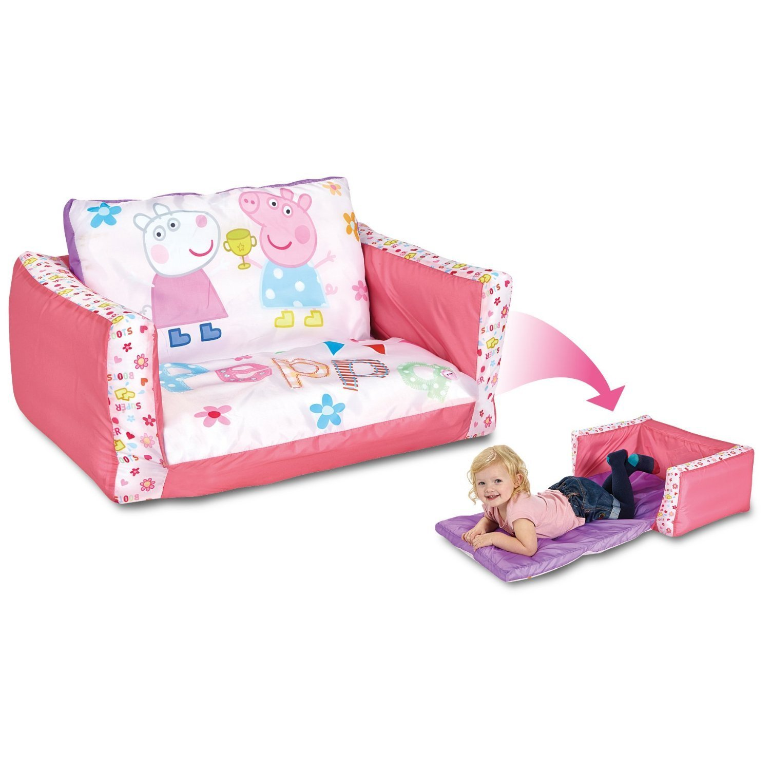 Peppa Pig - Flip Out Sofa And Chair For Kids - Folds Out To A Lounger:  Amazon.ca: Home & Kitchen