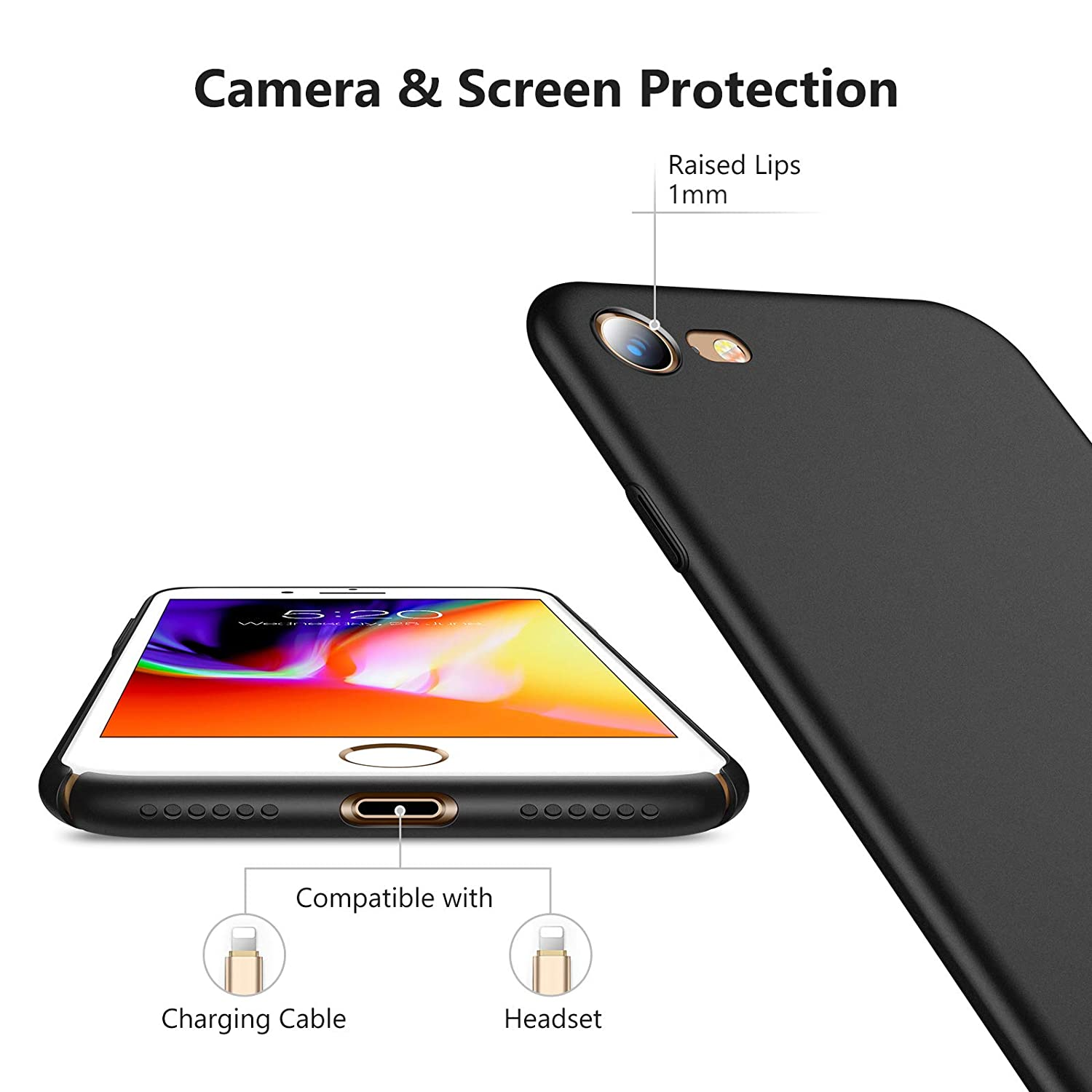 sports shoes 3cb92 1673c TORRAS Slim Fit iPhone 8 Case/iPhone 7 Case, Hard Plastic Full Protective  Anti-Scratch Resistant Cover Case Compatible with iPhone 7 (2016)/iPhone 8  ...