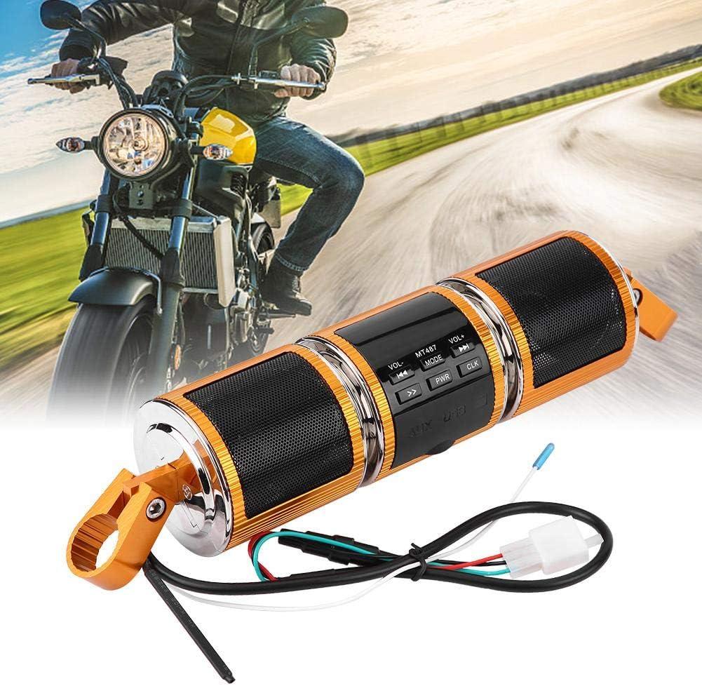 argento Altoparlanti audio con Bluetooth Manubrio moto Supporto per soundbar impermeabile MP3 USB//TF Card