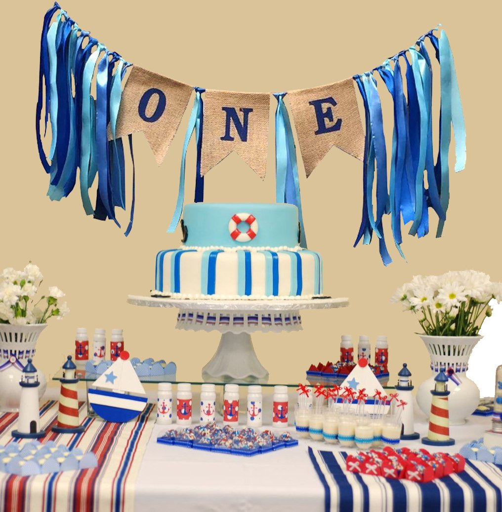 1st Birthday Decorations,Baby Boy's First Birthday Banner