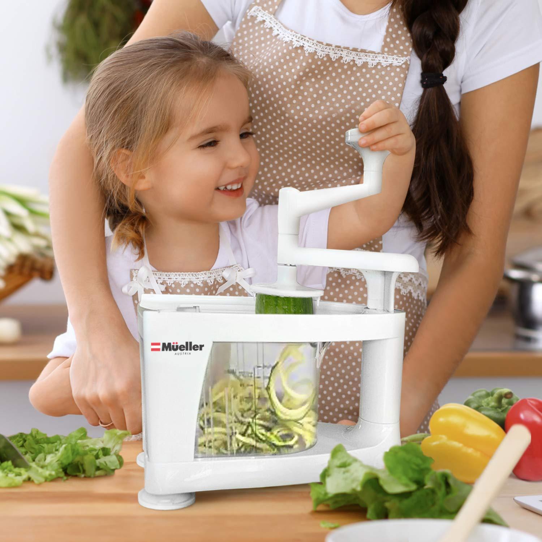 Mueller Spiral-Ultra Multi-Blade Spiralizer, 8 into 1 Spiral Slicer, Heavy Duty Salad Utensil, Vegetable Pasta Maker and Mandoline Slicer for Low Carb/Paleo/Gluten-Free Meals by Mueller (Image #4)