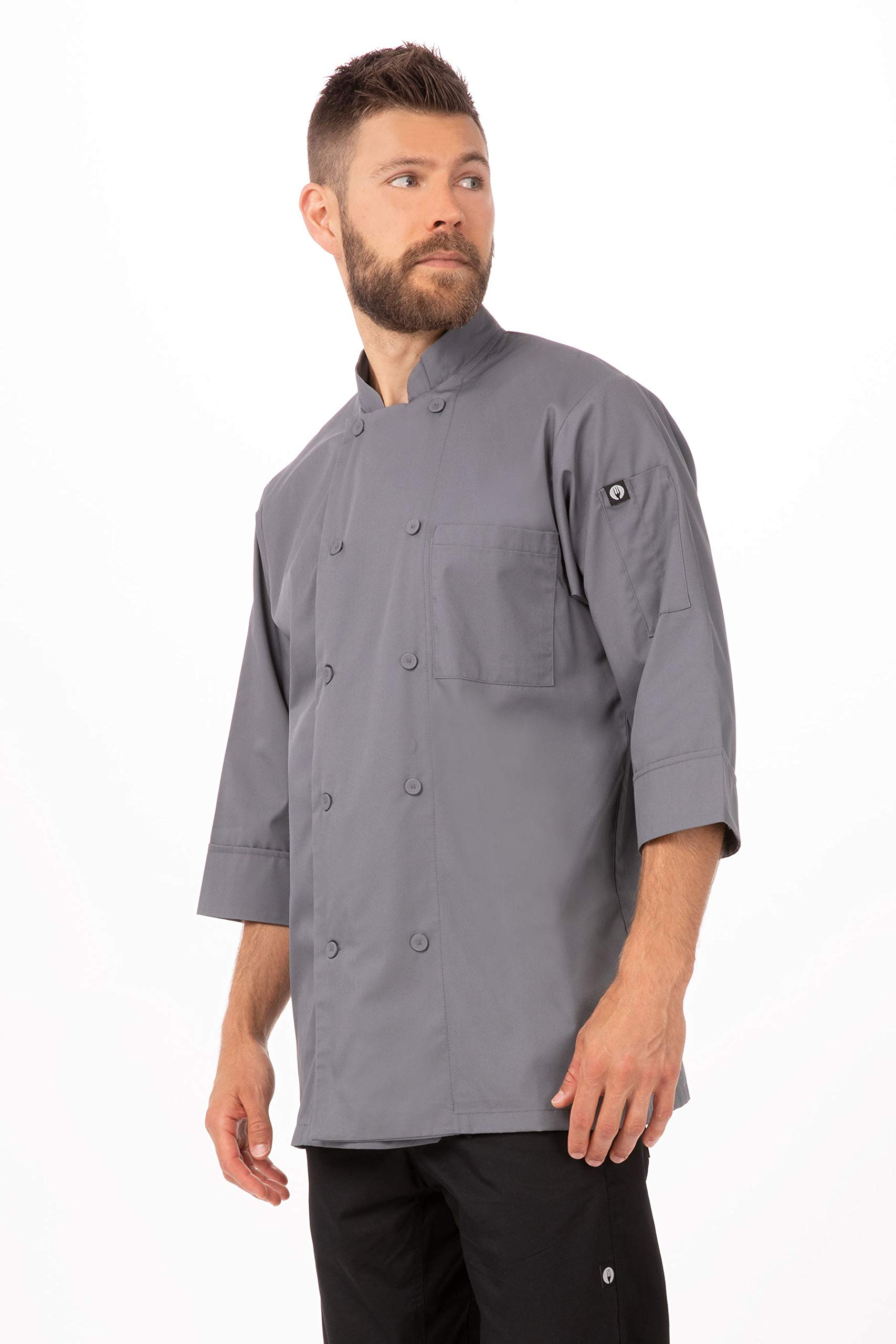 Chef Works Men's Morocco Chef Coat, Gray, 6XL by Chef Works