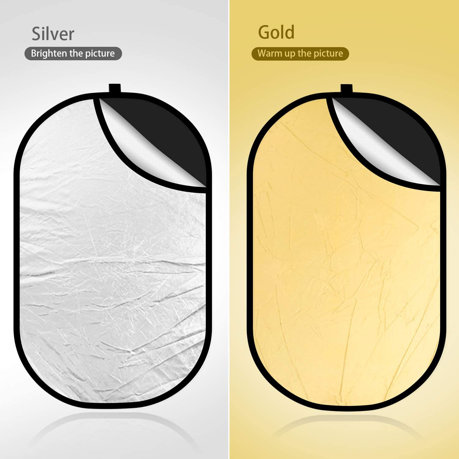 4-in-1 Foldable Backdrop 59 x 78 Reflector Photography Photo Studio Portable Collapsible Oval Large Light Reflectors//Diffuser Accessories Kit with Carrying Case for Outdoor Camera Vedio Lighting