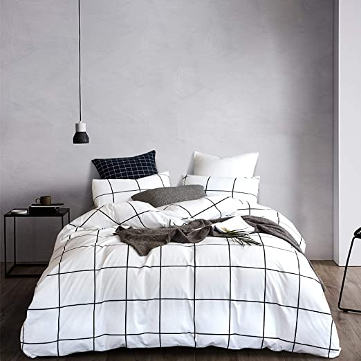 Amazon.com: Wellboo White Plaid Comforter Sets Black and White