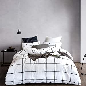 Wellboo White Plaid Comforter Sets Grid Checkered Twin Bedding Sets Cotton Big Large Plaid Quilts Reversible Black and White Geometric Comforter Women Men Teens Soft Warm Lightweight with Pillowcases