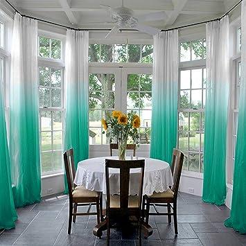 ChadMade Gradient Ombre - Cortina de Tul Plisado para Interiores y Exteriores, Pérgola de Porche, Cubierta de Cabana, para Patio y Sala de Playa (1 Panel), Teal, 1*(55Wx90L): Amazon.es: Jardín