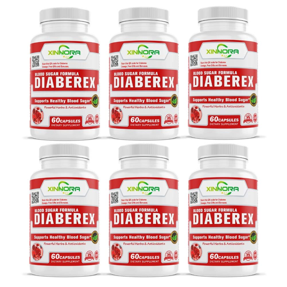 XINNORA Diaberex - Advance Blood Sugar Formula, Support Healthy Blood Sugar, Lower Blood Glucose Naturally, Supports Weight Loss & Healthy Metabolism - Powerful Herbs & Antioxidants - 60 Caps x 6 BTLs