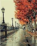 Colour Talk Diy Oil Painting, Paint By Number Kit- Romantic Love Autumn 16*20 Inch.
